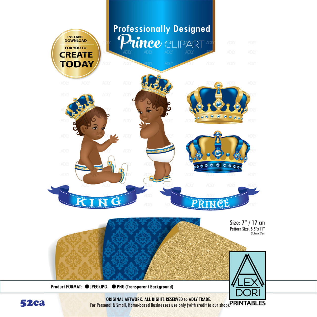 Royal Africa American Baby Shower Clipart Gold And Blue King Prince