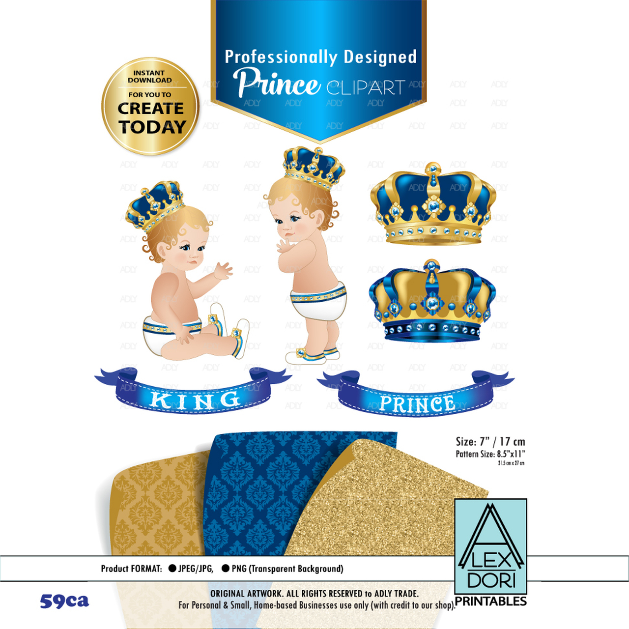 Royal Prince King Royal Digital Clipart Blue And Gold Baby Clipart Crown Scrapbook Clip Art Royal Crowns Royal Baby Shower Adly Invitations And Digital Party Designs