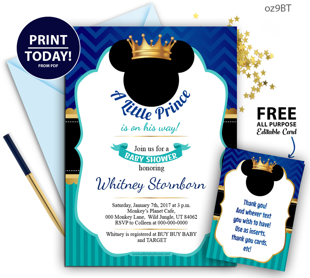 Royal Prince Mickey Baby Shower Blue And Turqoiuse Invitation Crown