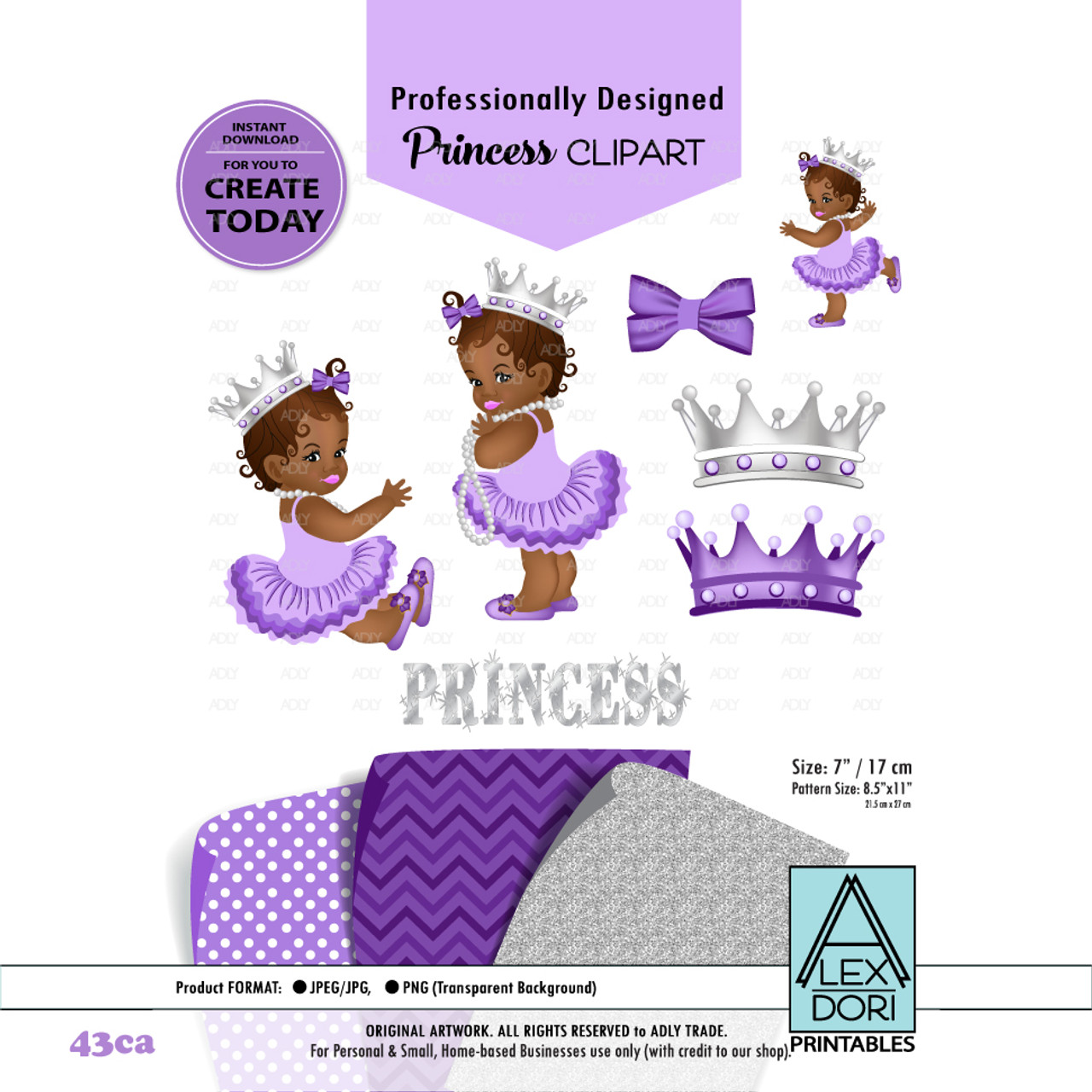 Princess African American Baby Digital Clipart Purple And Gray Baby