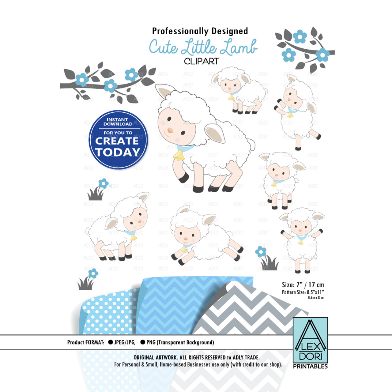 Baby Lamb Sheep Clipart Blue And White Cute Sheep Clipart Little