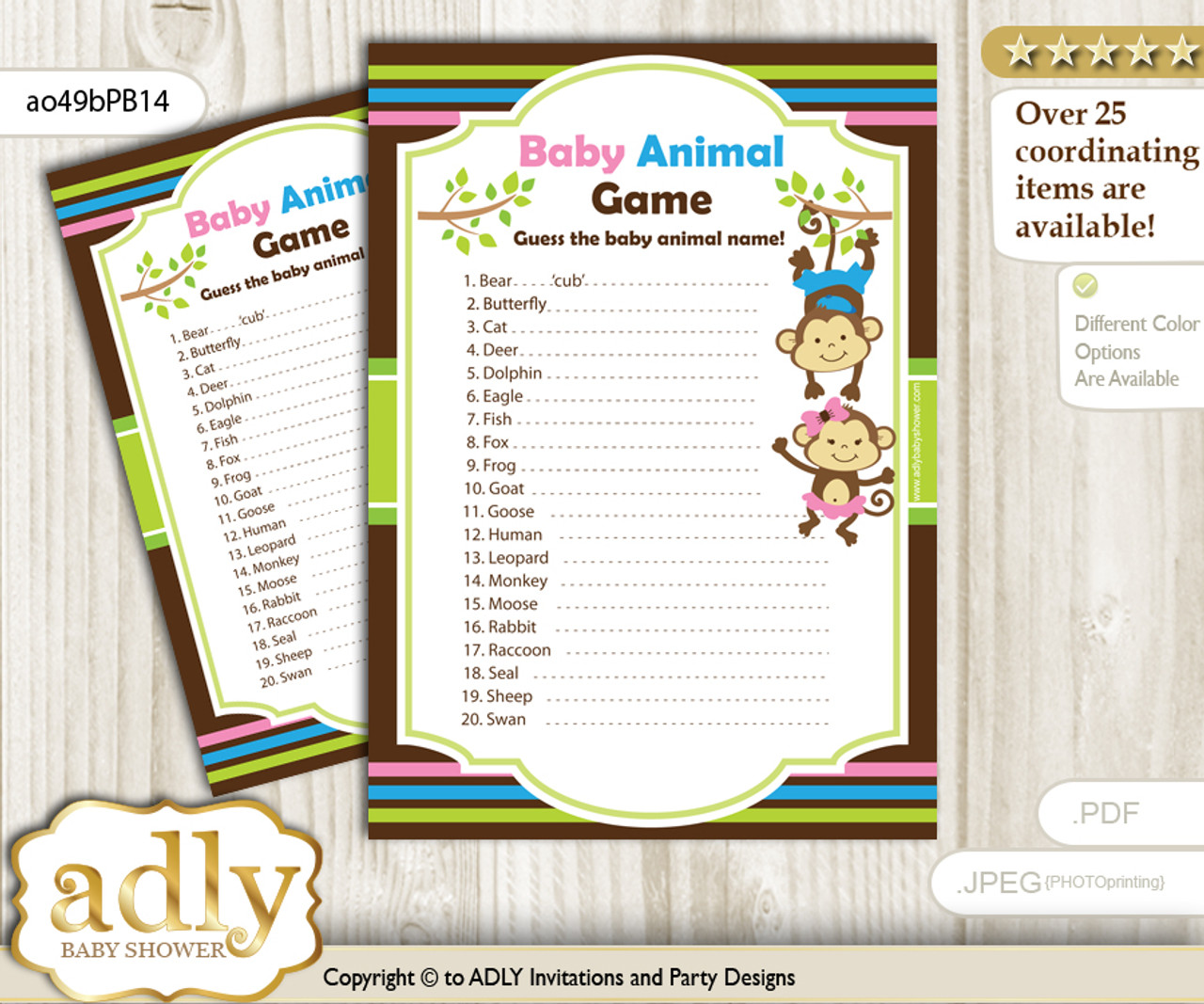 photo regarding Baby Animals Printable called Printable Monkeys Lady Boy Child Animal Sport, Wager Names of Youngster Pets Printable for Little one Female Boy Shower, Purple Blue Inexperienced, Twins
