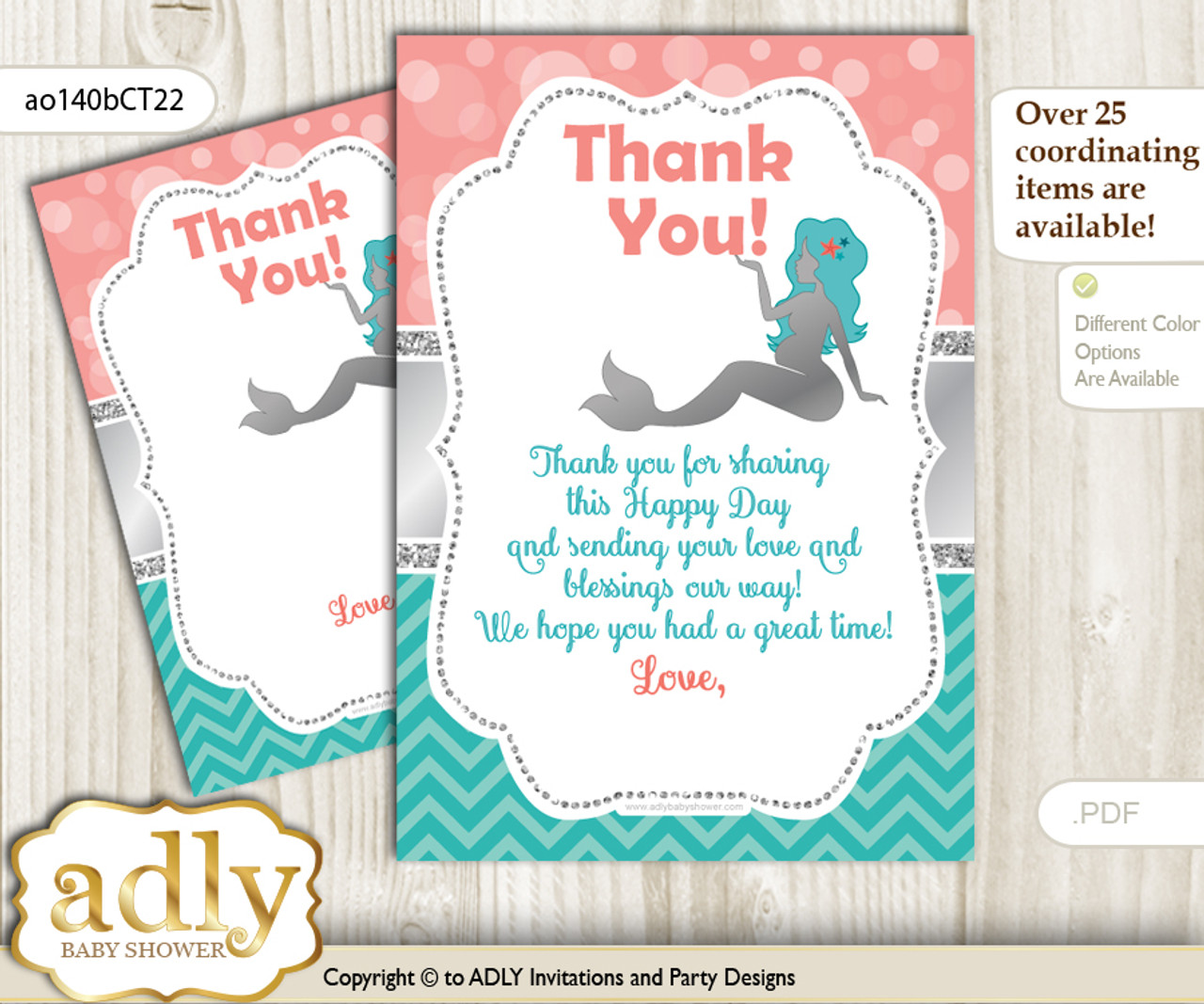 Mermaid Girl Thank You Cards For A Baby Mermaid Shower Or Birthday