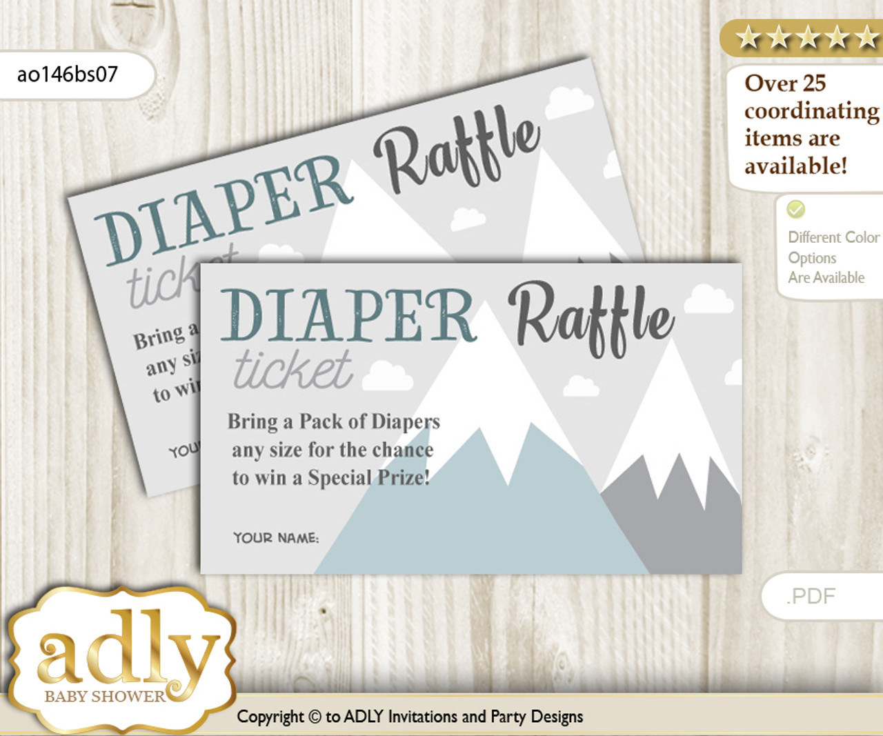 image about Diaper Raffle Printable titled Journey Mountain Diaper Raffle Printable Tickets for Child Shower, Grey White, Boy