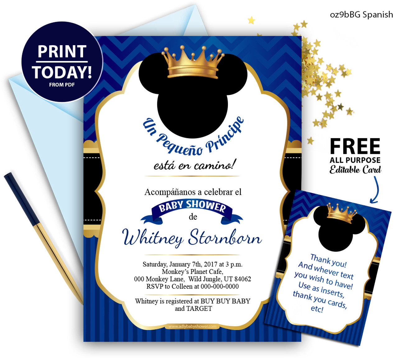 photograph about Free Printable Prince Baby Shower Invitations named Spanish Pirnce Mikcey kid shower invitation gold crown Royal blue invitation