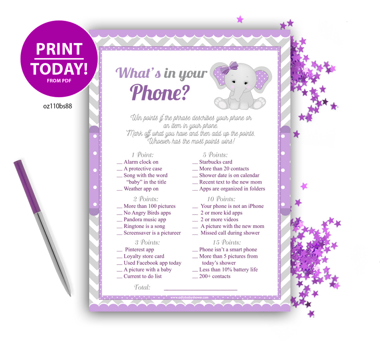 Peanut Elephant Girl What Is In Your Phone Game Baby Shower Games Purple Adly Invitations And Digital Party Designs