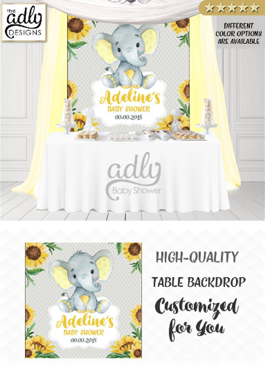 Peanut Yellow And Gray Unisex Elephant Backdrop Baby Shower Candy