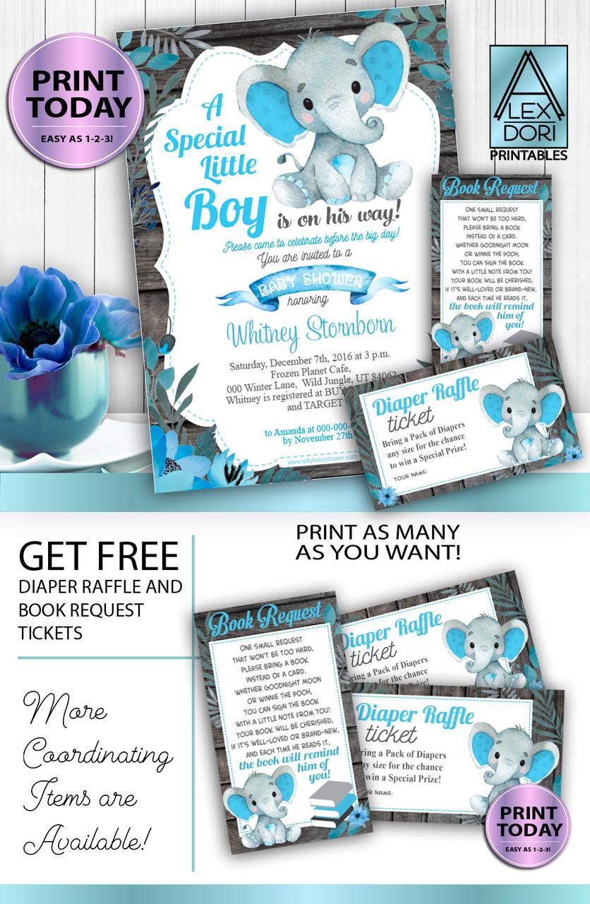 boy elephant blue gray baby shower invitation
