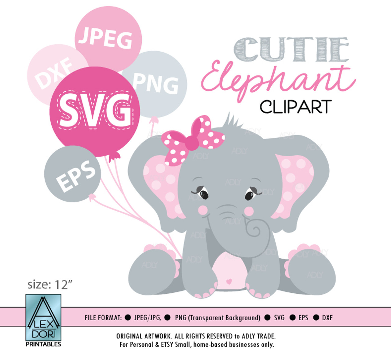 Elephant Girl Pink Svg Vector Clip Art Baby Girl Elephant For Baby