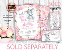 Flowral Elephant Baby Girl Shower Invitation Template, Floral Elephant digital invitation. Watercolor flowers frame.  Editable Instant Download