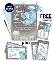 Elephant  boy male Invitation for Baby Shower, Rustic Moon, Stars, Clouds, silver, blue and gray. Free Thank you card, diaper raffle, book request