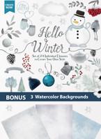 Hello Winter watercolor clipart snowman winter gloves winter hat cold snow snowflakes digital clipart Hello winter clipart flowers tree banner