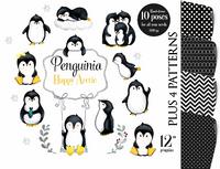 Arctic Penguin clip art, penguins clipart, digital illustration, penguin graphics for baby shower, birthday, nursery art, artic animals, watercolor