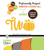 Fall orange Pumpkin Birthday, Second Birthday SVG, Vector, cutting file, TWO and pumpkin instead of O, decoration file, pumpkin for t-shirt, comm use