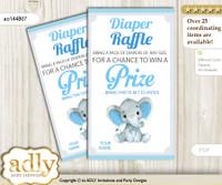 Elephant Boy Diaper Raffle Printable Tickets for Baby Shower, Blue Gray, Floral nn