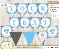 DIY Personalizable Elephant Boy Printable Banner for Baby Shower, Blue Gray, Floral nn