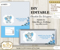 DIY Personalizable Elephant Boy Chocolate Bar Candy Wrapper Label for Elephant  baby shower, birthday Blue Gray , editable wrappers