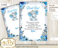 Elephant  Boy Thank you Cards for a Baby Elephant Shower or Birthday DIY Blue Gray, Floral