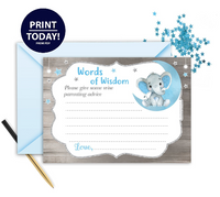 Peanut Elephant Words of Wisdom Card In Blue & Gray for BABYSHOWER