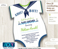 Nautical Onesies Baby Shower Invitation for a Baby Boy Navy Blue, Lime Green, White colors. Little Sailor invitation,sail on over