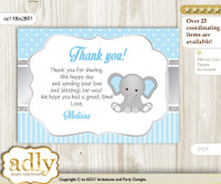 Boy Elephant Thank you Printable Card with Name Personalization for Baby Shower or Birthday n