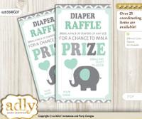 Boy Elephant Diaper Raffle Printable Tickets for Baby Shower, Mint Grey, Chevron