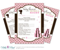 Gucci Girl Vintage What is in Mommy's Purse, guess purse Game Printable Card for Baby Vintage  Shower DIY Pink Brown  Gucci