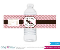Gucci Girl Vintage Baby Shower Water Bottle Wrappers, Labels, - it's a Girl Pink Brown , Gucci - oz11bs5