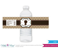 Gucci  Boy Fashion Baby Shower Water Bottle Wrappers, Labels, - it's a Boy Brown Red, Gucci