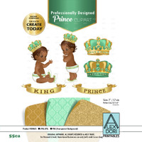 Gold and Mint green royal African-Ameircan baby clipart, prince king digital clipart,crown clip art