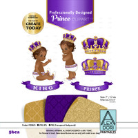 Royal African-Ameircan Purple and Gold baby clipart, prince king digital clipart,crown clip art