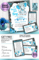 Boy Elephant Blue Gray Baby Shower Invitation -Printable Invitation - Mommy to Be Shower-Peanut Invite-Elephant Baby Shower-FREE Diaper Raffle