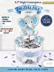 Boy Blue elephant centerpiece decoration- cake topper- birthday party decoration baby shower - cardboard