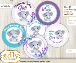 Baby Shower Elephant Girl Cupcake Toppers Printable File for Little Elephant and Mommy-to-be, favor tags, circle toppers, floral, Purple Teal