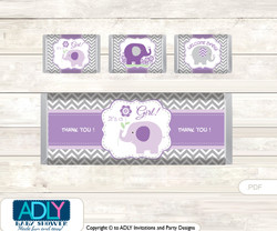 Girl Elephant  Chocolate Bar Wrapper and Nuggets Candy Wrapper Label for Baby  GirlShower  Purple Grey ,  Chevron