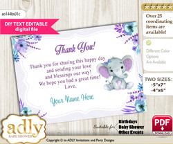 DIY Elephant Girl Thank you Card, Text Editable customizable wording, for Baby Shower or Birthday Party n