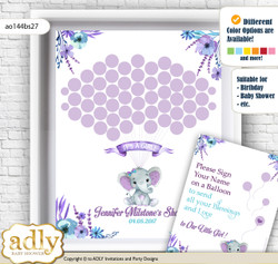Elephant Girl Guest Book Alternative for a Baby Shower, Creative Nursery Wall Art Gift, Purple Teal, floral