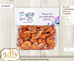 Printable Elephant Girl Treat or Goodie bag Toppers for Baby Elephant Shower or Birthday DIY Purple Teal, floral n
