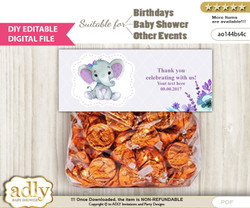 DIY Text Editable Elephant Girl Goodie  Treat Bag Toppers, Favor Bag Digital File, print at home  n