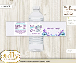 Elephant Girl Water Bottle Wrappers, Labels for a Girl  Baby Shower, Purple Teal, floral n