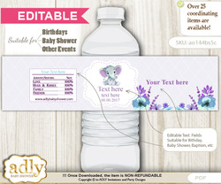 DIY Text Editable Elephant Girl Water Bottle Label, Personalizable Wrapper Digital File, print at home for any event  n