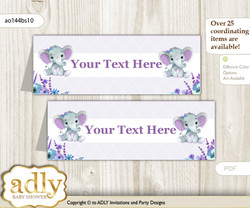 DIY Text Editable Printable Elephant Girl Buffet Tags or Food Tent Labels  for a Baby Shower or Birthday , Purple Teal, floral n