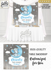 Boy Elephant Table Backdrop, Moon, Clouds, Stars Twinkle Little Baby Elephant desert table decor, back drop, watercolor cute elephant sign