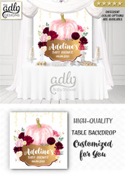 Pumpkin floral maroon burgundy pink gold back drop, fall baby shower candy Table Digital Backdrop, Fall Watercolor Birthday Party
