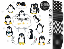 Arctic Penguin clip art, penguins clipart, digital illustration, penguin graphics for baby shower, birthday, nursery art, artic animals, watercolor