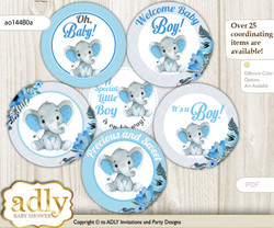Baby Shower Elephant Boy Cupcake Toppers Printable File for Little Elephant and Mommy-to-be, favor tags, circle toppers, Floral, Blue Gray N