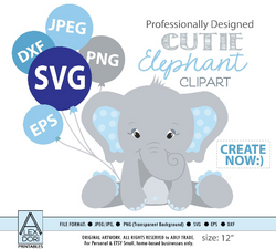 Boy Elephant SVG, vector clip art, baby elephant for boy baby shower, birthday, diaper cake. Blue Gray peanut with polka ears, comm use