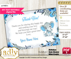 DIY Elephant Boy Thank you Card, Text Editable customizable wording, for Baby Shower or Birthday Party