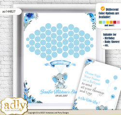 Elephant Boy Guest Book Alternative for a Baby Shower, Creative Nursery Wall Art Gift, Blue Gray, Floral
