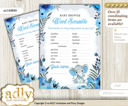 Elephant Boy Word Scramble Game for Baby Shower